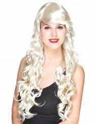Perruque glamour longue blonde avec boucles femme