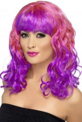 Perruque bouclée rose et violette femme