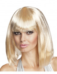 Perruque carré mi-long blonde femme