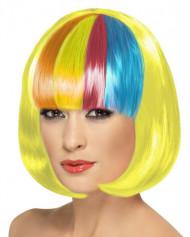 Perruque carrée jaune frange multicolore femme