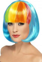 Perruque carrée bleue frange multicolore femme