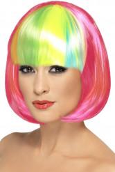 Perruque carrée rose frange multicolore femme