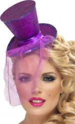 Mini chapeau haut de forme violet femme