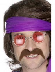 Moustache marron années 70 adulte