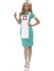 Déguisement infirmière vert et blanc femme