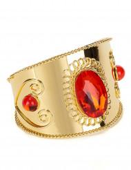 Bracelet doré avec pierres rouges