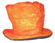 Chapeau haut de forme velours orange