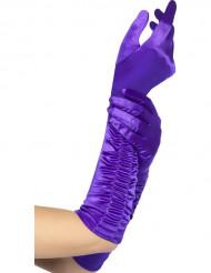 Gants longs violets femme