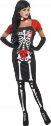 Déguisement squelette rouge et noir femme