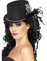Chapeau haut de forme noir avec main squelette et plumes femme Halloween