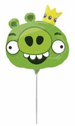 Ballon aluminum Angry Birds™ vert  20 cm