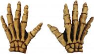 Gants jaunes squelette adulte Halloween