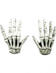 Gants courts squelette adulte Halloween