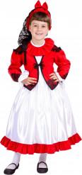 Déguisement traditionnel rouge et blanc espagnole fille