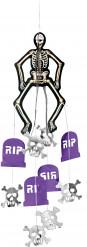 Décoration à suspendre squelette Halloween carton 60 cm