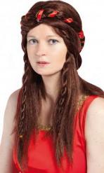 Perruque médiévale marron femme