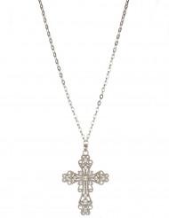 Collier croix fausses pierres précieuses