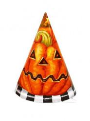 6 chapeaux en carton Citrouille Halloween