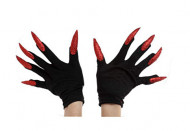 Gants noirs avec grands ongles rouges adulte Halloween