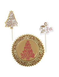 Set moules à cupcakes et pics de décoration de Noël