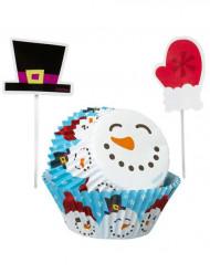 Set moules à cupcakes et pics de décoration hivernale
