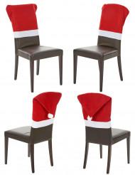 4 Housses de chaise rouge Noël