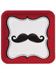 8 Assiettes 23 cm Moustaches