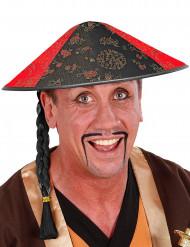 Chapeau chinois avec tresse noire