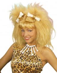 Perruque femme des cavernes blonde adulte