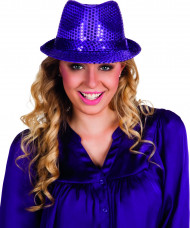 Chapeau pailletté violet adulte