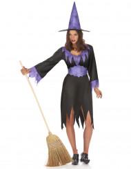 Déguisement sorcière noire et violette femme