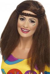 Perruque hippie marron années 70 femme