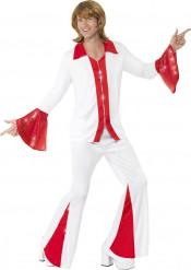 Déguisement disco rouge et blanc homme