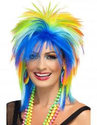 Perruque multicolore années 80 femme