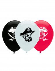 6 Ballons en latex pirate noir, blanc et rouge