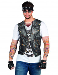 T-Shirt veste motard tatouages adulte