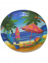 8 assiettes en carton vacances Hawaï