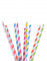 25 pailles rayées couleurs assorties