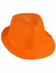 Chapeau borsalino à sequins orange adulte