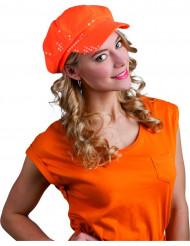 Casquette disco à sequins orange adulte