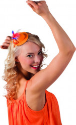 Mini chapeau orange plumettes tricolore adulte