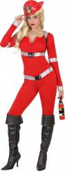 Déguisement pompier sexy rouge femme