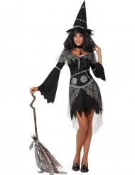 Déguisement sorcière grise et noire femme Halloween