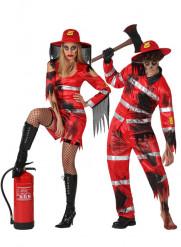 Déguisement de couple sapeur-pompier zombies