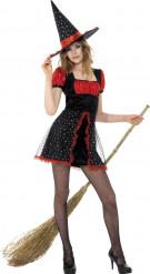 Déguisement sorcière rouge et noire adolescente Halloween