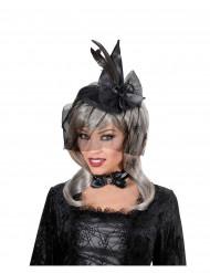 Mini chapeau sorcière avec voile adulte Halloween