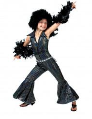 Déguisement disco noir brillant fille