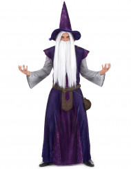Déguisement mage sorcier violet adulte