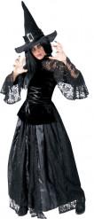 Déguisement sorcière noire dentellée femme Halloween