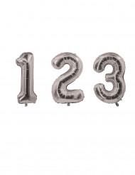 Ballon aluminium chiffre argenté 85 cm